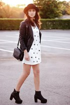 black Oasapcom boots - white Oasapcom dress