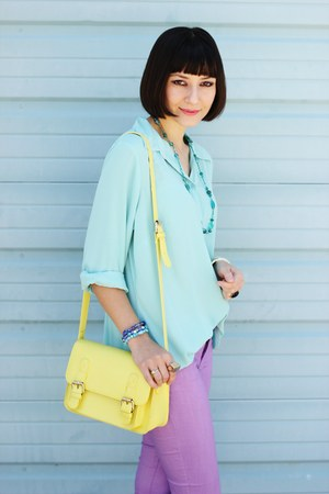 light yellow bag - light purple Forever 21 jeans - aquamarine thrifted shirt