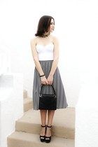 black shoes - black bag - heather gray vintage skirt - white corset Vedette top
