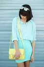 Aquamarine-skirt-light-yellow-bag-light-blue-loafers-aquamarine-top