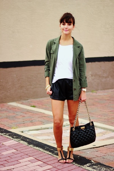 olive green Forever21 jacket - black OASAP shorts - white t-shirt