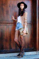 tan leopard print shoes - black hat - tan blazer - gold bag - sky blue shorts