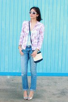 light purple vintage blazer - silver Guess shoes - sky blue jeans