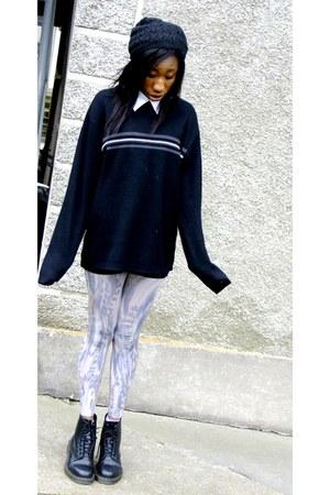 H&M leggings - doc martens shoes - hoodie H&M hat - attic jumper