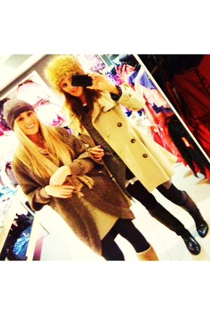 brown Topshop coat - black Zara boots - brown H & M hat