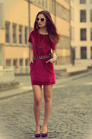 red velvet dress - purple Christian Louboutin pumps