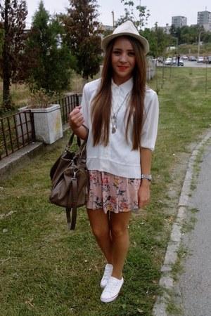 cream unknown brand shirt - white new look shoes - light pink handmade dress