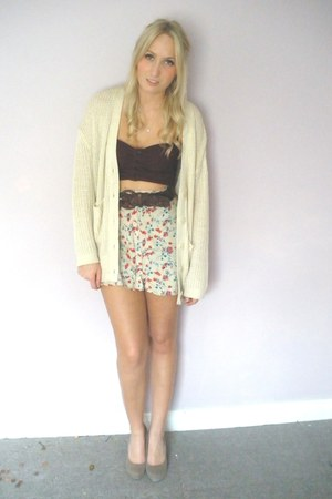 off white floral print skirt - crimson bustier top - beige knit cardigan