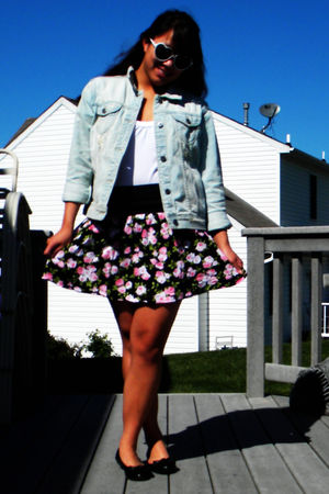 blue kohls jacket - black kohls skirt - white kohls shirt - black simply vera wa