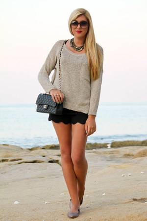 black asos shorts