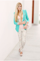 turquoise blue traffic blazer
