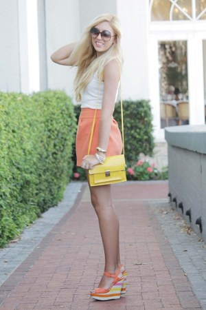 orange asos skirt