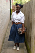 midi denim Primark skirt - aztec Peacocks bag - white Matalan loafers