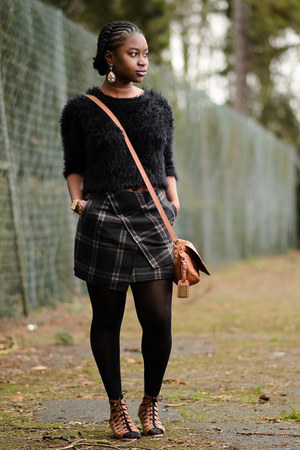tartan Newlook skirt - satchel Dorothy Perkins bag - lace-up asos sandals