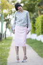 Metallic-dot-gorman-sweatshirt-pink-leather-river-island-skirt-miista-heels