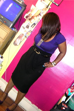 purple H&M shirt - black H&M dress - purple thrifted shoes - vintage via great-g