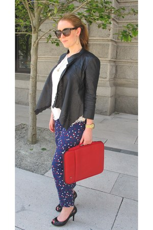 black BCBGMAXAZRIA jacket - red PKG bag - white calvin klein blouse