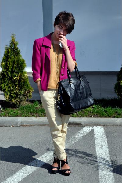 H&M purse - Zara blazer - H&M pants - Stradivarius blouse - Stradivarius sandals