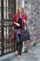 black new look bag - ruby red New Yorker jacket - plaid Zara shirt