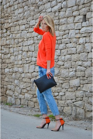 carrot orange Zara jumper - light blue boyfriend Stradivarius jeans