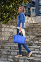 blue denim H&M shirt - blue print New Yorker jeans - beige Stradivarius sweater