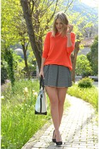 white Cruciani bracelet - New Yorker bag - carrot orange Zara jumper