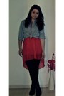 Red-boutique-dress-jeans-vintage-shirt