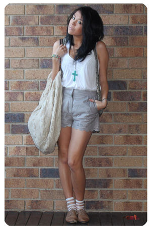 gray ASOS laser cut scalloped leather shorts - white Ladakh top - white Sportsgi