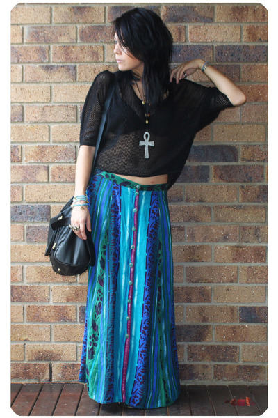 black Sportsgirl Honeycomb Mesh top - blue vintage skirt - black hong kong bouti