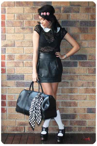 black Ladakh top - black Cotton On faux leather skirt - black Jeffery Campbell s
