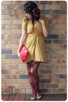 mustard asos dress - tan thrifted shoes - brick red Ebay tights