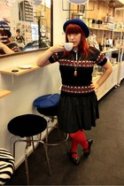 blue H&M hat - black Vintage costume sweater - black H&M skirt - red H&M tights