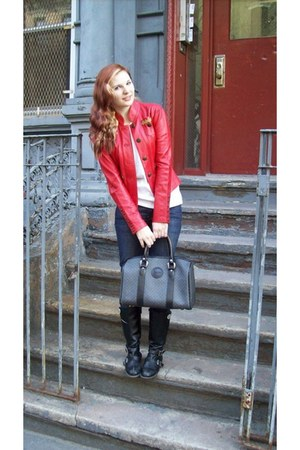 black Michael Kors boots - blue Levis jeans - red One Girl Who jacket