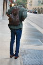 Blue-levis-jeans-green-army-jacket-brown-rossetti-bag-brown-shoes