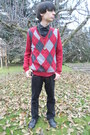 Ruby-red-thrifted-sweater-black-deichmann-shoes-black-levis-jeans