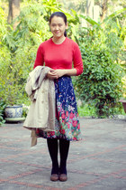 blue floral print vintage skirt - ivory modcloth coat - red Gap sweater
