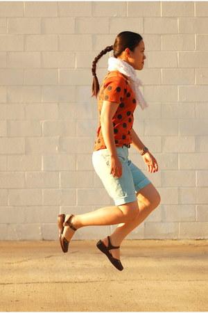 tawny polka dot Forever 21 t-shirt - white polka dot Target scarf