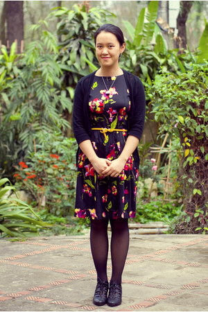 gold belt - floral dress - black Target cardigan - black vintage heels