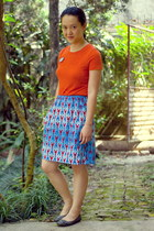 blue lobster self-made skirt - carrot orange Old Navy t-shirt - dark green flats