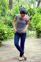 tawny shoes - navy Forever21 jeans - heather gray t-shirt