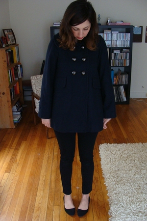 blue FCUK coat - black BDG jeans - black Kimchi Blue shoes