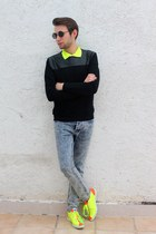 light blue Topman jeans - chartreuse Jeremy Scott sneakers