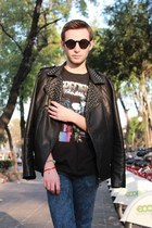 black Zara jacket - black balenciaga shirt