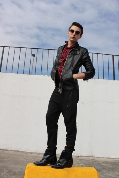 ruby red Zara shirt - black MANCANDY boots - black Zara pants