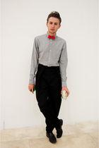 red vintage tie - black TEAMO pants