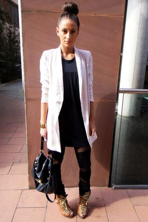 black asos leggings - brown asos boots - beige H&M blazer - black French Connect