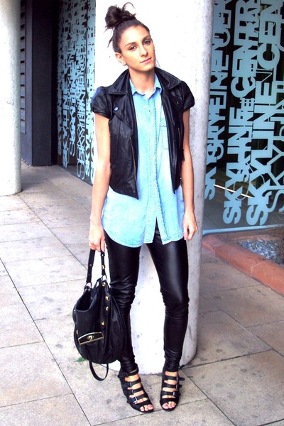 black Topshop leggings - blue H&M shirt - black leather jacket - black Topshop a