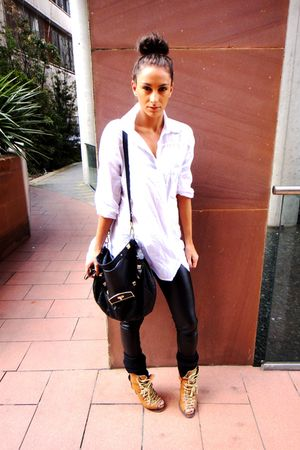 white H&M shirt - brown asos boots - black Topshop leggings