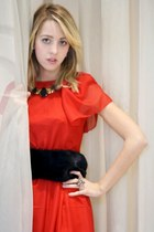 red silk Andrea Brandolini dress - gold gems noname necklace