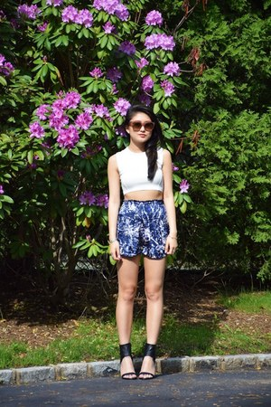 high waisted Be Happy Live Pink shorts - crop top Zara top - heels vince sandals